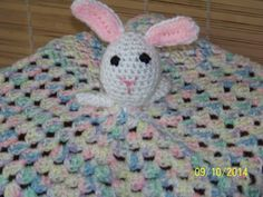 Security blanket with bunny rabbit head by MadeinMassachusetts