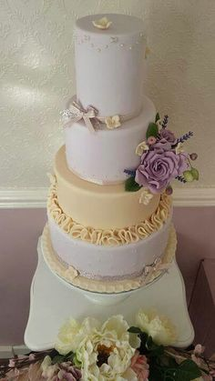 Lavender and taupe wedding cake with sugar roses, hydrangea and lavender by Corr's Cakes