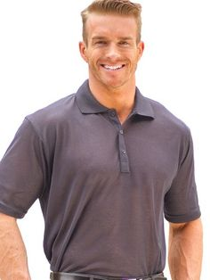 Cooltan Mens Tan Through Solid Short Sleeve Polo L Dark Gray