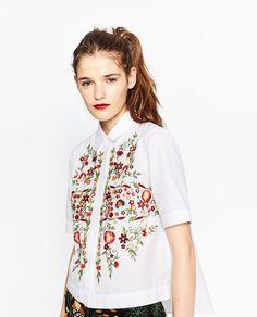 刺繍ポプリンシャツ-すべてを見る-シャツ ブラウス-レディース-秋冬コレクション | ZARA 日本