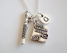 Best teacher ever necklace, Music Teacher gift, Flute necklace, Teacher jewelry, Gifts for teacher, Graduation gift, Initial necklace
