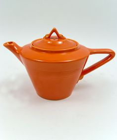 Original Radioactive Red Harlequin Pottery Teapot Homer Laughlin Fiesta For Sale