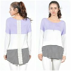 Lavender Wave Top sizes S M L Beautiful lavender top long sleeve with embrodery back design. Material is Rayon and spandex  Size S M L  Small measures 20 inches across chest Price Firm Like my page on Facebook Sweet-bb boutique  Tops