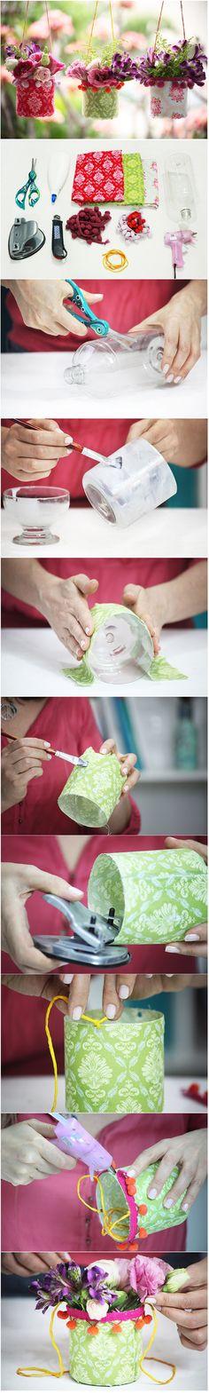 DY Plastic Bottle Hanging Vase Tutorial http://www.goodshomedesign.com/dy-plastic-bottle-hanging-vase-tutorial/