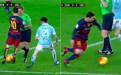 Leo Messi sacó un nuevo regate en su repertorio colocando al árbitro entre él y el jugador rival