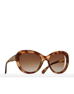 Gafas de sol montura mariposa, acetato y metal - lentes polarizadas-marrón claro - CHANEL