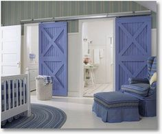 """DIY Barn Doors. Like the sliding doors for an open room w no wall or door. so when Lowes, Home Depot and door store tell you, """"there's no way"""""""