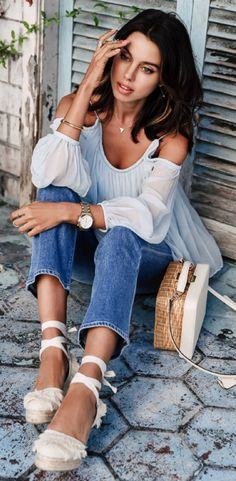 love this look + Annabelle Fleur + seasonal vibes + simple look + flared, cropped jeans + off the shoulder top + right on trend + espadrilles + sophisticated feel.  Blouse: Shopbop, Jeans: Fwrd, Sandals: Intermix