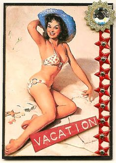 Beach Vacation Pin Up ATC by Nostalgic Collage