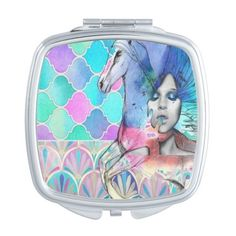 Cute Pastel Unicorn pink blue compact mirror ($15) ❤ liked on Polyvore featuring beauty products and beauty accessories