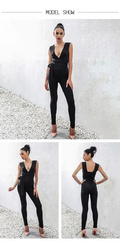 5af9231914fc Women Bodysuit Rompers With Belt Club Wear Rompers Womens Jumpsuit Sexy  Deep V Neck Full Length