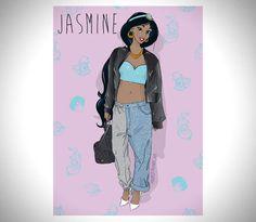 Jasmine - Disney Princesses Drawn as Miley Cyrus Disney Pixar, Disney Punk, Heros Disney, Disney Love, Disney Magic, Disney Art, Walt Disney, Disney Characters, Disney Parody