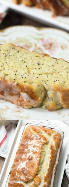 This Lemon Yogurt Poppy Seed Bread from Valerie's Kitchen is a light and bright cake with a sweet but tart lemon glaze. Greek yogurt adds richness and fabulous texture!