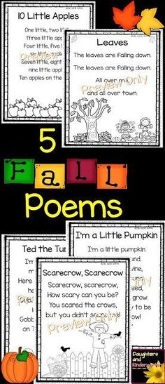 5 Fall poems for kids | kindergarten poems | poem of the week | Autumn poetry | poetry notebooks | 1st grade