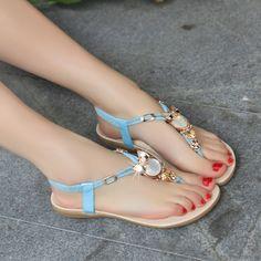 Korean Rhinestones pinch flat sandals flip flops and female FDD