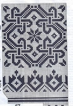 Bead Patterns for Loom Work or Square Stitch ___ Cross Stitch Borders, Cross Stitching, Cross Stitch Embroidery, Embroidery Patterns, Cross Stitch Patterns, Celtic Cross Stitch, Fair Isle Knitting Patterns, Knitting Charts, Knitting Stitches