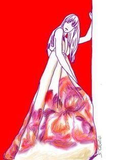 Frau in weißem Abendkleid mit Neckholder und riesigem Blumenprint auf dem weiten Rock