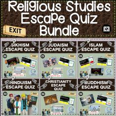 A selection of 6 Religious Education Escape Quizzes including: Buddhism, Christianity, Islam, Hinduism, Judaism and Sikhism. (Each Escape Room is Mixed with a self marking and instant feedback quiz - Perfect for students to do whilst social distancing.All students need is a laptop/Computer or iPad/D... Health Resources, Health Education, Teaching Resources, Religious Studies, Religious Education, Islam, School Computers, Character Education, Escape Room