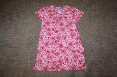 Nick & Nora Womens Cotton V Neck Nightgown Pink Floral Rose Night Shirt Sz Large #NickNora #Sleepshirt