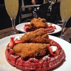 Fried chicken and red velvet waffles. Photo courtesy of foodchasers on Instagram.