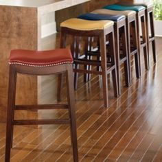 Julien Leather Bar Stool I love the golden saddle color and used 2 of these with my kitchen island.