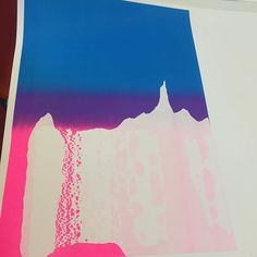 Workshop @ecal_ch second day results. Lo-fi stencil technique with the screenprinting tables. So slowly I'm becoming the Bob Ross of screenprinting. Talking about happy accidents and making dreamy elfish landscapes with the students. #ecal #screenprinting
