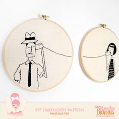 BFF Couple Embroidery Pattern.   @Ana Prillaman I love this. please make me them?