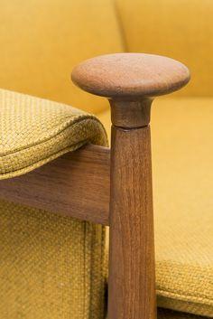Finn Juhl Bwana easy chair in teak and yellow at Studio Schalling #teak #retro