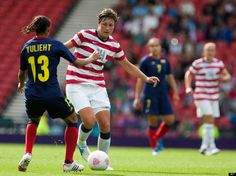 Abby Wambach in the Olympic soccer match versus Columbia. The USWNT won 3-0. (AP/Chris Clack)