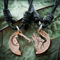 Copper Wolf Necklaces, Howling Tribal Wolves with Moon, Interlocking Jewelry, Best Friends jewelry, Coin that has been cut and etched Wolf Jewelry, Cute Jewelry, Jewelry Accessories, Tribal Wolf, Wolf Necklace, Pearl Necklace, Bff Necklaces, Best Friend Jewelry, Things To Buy