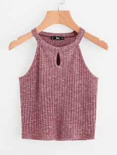 MakeMeChic - MAKEMECHIC Marled Knit Keyhole Front Ribbed Halter Top - AdoreWe.com