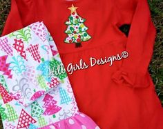 Girl's ruffled Christmas tree dress and ruffled pants set