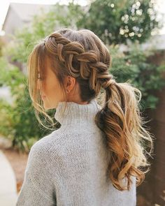 braided hairstyles, two braided hairstyles, Two Ponytail Braids and Fishtail Bridal Hairstyles With Braids, Braided Ponytail Hairstyles, Casual Hairstyles, Bridal Hair Braids, Cute Prom Hairstyles, Hairstyle Braid, Braid Ponytail, Brunette Hairstyles, Bob Hairstyles