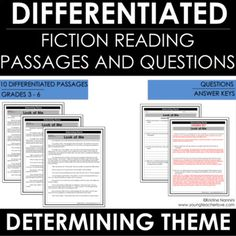 Theme Reading Comprehension Passages And Questions – Distance Learning Worksheets 4th Grade Classroom, Middle School Classroom, Classroom Ideas, Reading Themes, Reading Activities, Reading Skills, Literary Themes, Literary Elements, Reading Comprehension Passages