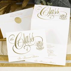 This soft white, deluxe announcement features a gold front panel design and crest only as shown. The ink color you select will be used for the year line and announcement wording.