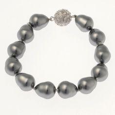 Pearl Bracelet with CZ Ball Clasp (light grey) | www.glamadonnashop.com.au