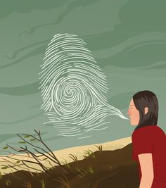 An Editorial illustration about how unique our breath is and hows it's similar to a finger print.
