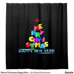 Merry Christmas Happy New Year Shower Curtain
