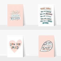 These beautiful hand lettered postcards are a great way to remind friends of their identity in Christ - loved, chosen and blessed. By The Lettering Tree. Spiritual Encouragement, Christian Encouragement, Motivational Cards, Inspirational Quotes, Bible Verses About Strength, You Are Precious, Identity In Christ, Choose Love, Trust God