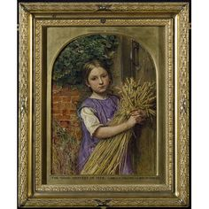 The Good Harvest of 1854, 1854, Charles Allston Collins; its symbolic elements include the wheat sheaf that the girl is holding, which symbolises bread, an additional significant detail perhaps being the ivy on the wall, which may allude to wine, so that together, wheat and ivy may symbolise the bread and wine of the Christian Eucharist. (Victoria & Albert Museum)