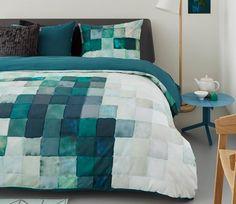 auping aqua zoom mint,wit,green overtrek katoen satijn, blok,groen,zeeblauw uni achterzijde,bot slapen zwaag hoorn