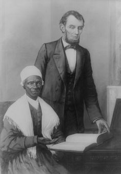 "*LINCOLN & SOJOURNER TRUTH(1797– 11/26/1883)anAfrican-American abolitionist+ women's rts activist.Born into slavery inSwartekill,UlsterCounty,NY,escaping w/her infant daughter to freedom in1826.After going to court to recover her son,she became the1st black woman to win such a case against a white man.Her best-known speech on gender inequalities,""Ain't I a Woman?"",delivered in 1851at theOhio Women'sRightsConvention in Akron,Ohio.During theCivil War,she recruited black troops for the Union…"