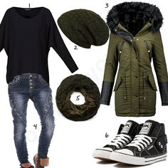 Lässiger Winterstyle in Grün und Schwarz für Frauen (w0755) #olivgrün #sneaker #jeans #pullover #mantel #outfit #style #fashion #womensfashion #womensstyle #womenswear #clothing #frauenmode #damenmode #handtasche  #inspiration #frauenoutfit #damenoutfit