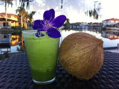 Coconut Green Dream: Organic Coconut Water, Spinach, Green Apple, Green Grapes, Pineapple & Barely Grass.