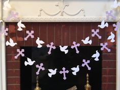 Christening Cross and DOVE Garland - Baptism decorations - First Communion Garland - RELIGIOUS Baby Dedication Decor - Your Color choice from anyoccasionbanners First Communion Decorations, Christening Decorations, First Communion Party, First Holy Communion, Baby Baptism, Baptism Party, Baby Shower Garland, Candy Bar Wedding, Baby Dedication