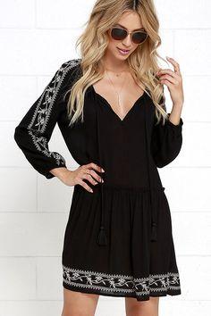 Tender Curiosity Black Embroidered Dress at Lulus.com!