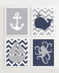 NAUTICAL PRINTS - Chevron Nautical Nursery Navy Grey set of 4 -  Beach Ocean Sea - more colors available