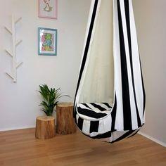 Hammock chair Striped hanging chair Blue Scandinavian decor Toddler swing Cocoon indoor hammock