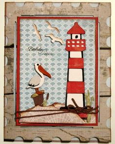 Cricut Lighthouse Card. Life's a Beach Cartridge. By BugBites   *