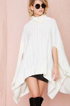Nasty Gal Cool It Cape Sweater | Shop Sweaters at Nasty Gal